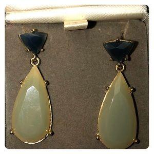 Celadon green and dark teal blue gemstone & gold